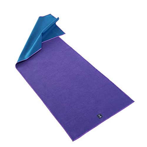 YogaRat Gummy Grip Yoga Towels - Smooth Silicone Backing Grips Your Yoga Mat- 100% Microfiber Top - No Uncomfortable Raised Dots - Non-Slip - Use as Travel Yoga Mat