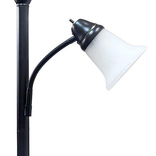 Elegant Designs LF2003-RBZ 2 Light Mother Daughter Floor Lamp with White Marble Glass,Restoration Bronze by Elegant Designs (Image #4)
