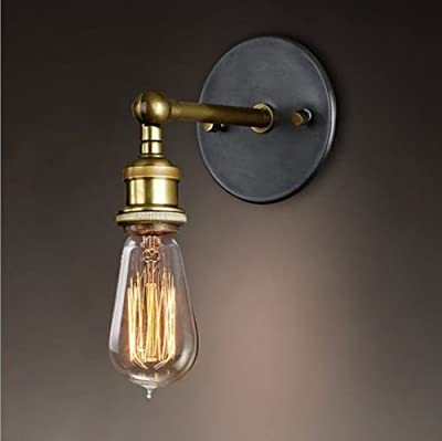 Splink Vintage Industrial Metal Wall Sconce Light Lamp Brass Finished Simple Copper Head Wall Lamp Fixtures with E26 Socket for House, Bar, Restaurants, Coffee Shop, Club Decoration