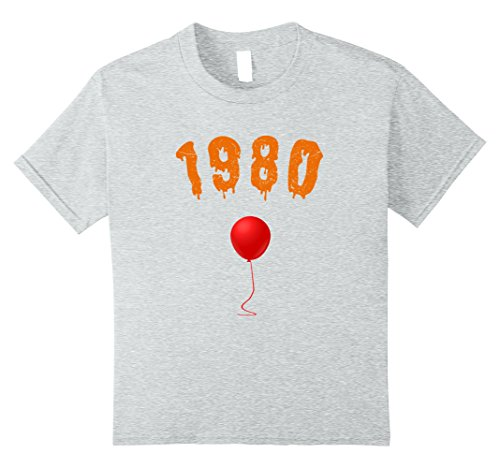 Kids Halloween Shirt For Born In 1980 37th Birthday Shirt Age 37 8 Heather Grey (Plus Size 1980's Halloween Costumes)