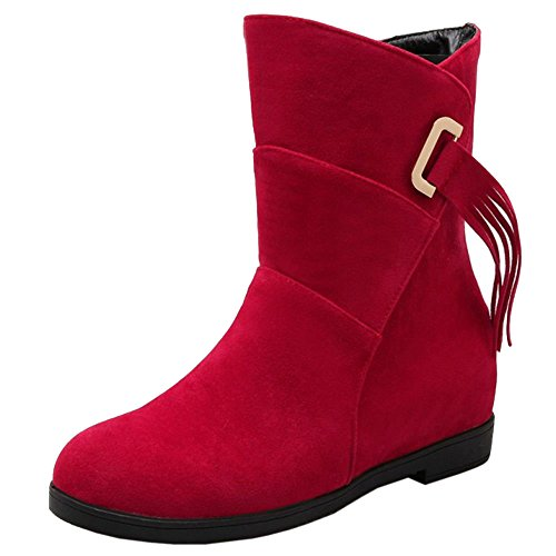 Wedges Boots Mid Women's Red Ankle Heels Fashion COOLCEPT Z6Swqx
