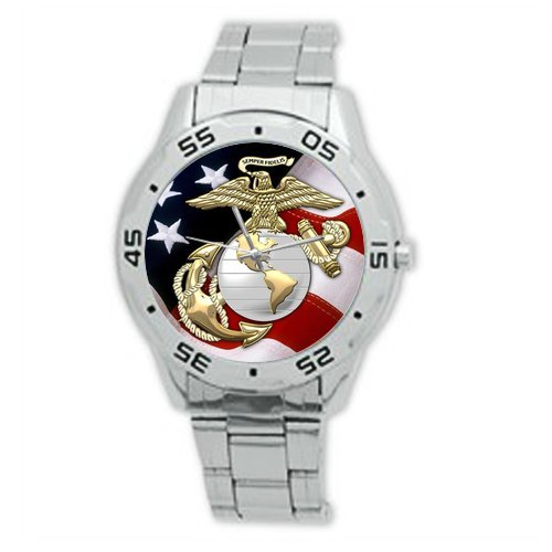 Birthday/Christmas Day Gifts USMC United States Marine Corps Analogue Stainless Steel Men's Watch ()