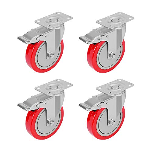 PRITEK 5 inch Plate Caster Wheels with Safety Dual Locking Set of 4 No Noise Heavy Duty Swivel Casters All with Brake Total Bearing 1400lbs (Plate Caster Swivel)