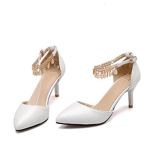 Solidi Dell'unità scarpe Fibbia Donne Pompe Bianca Di Talloni Alti Allhqfashion Delle A Chiusa Punta Punta Elaborazione rEWRqrxnv