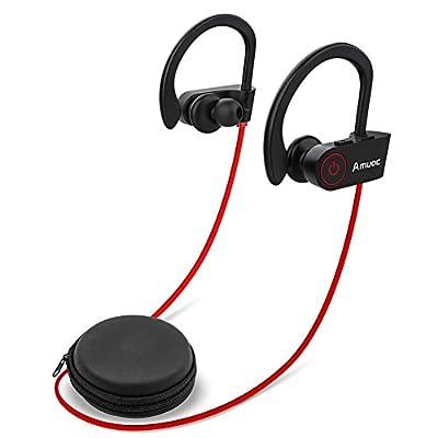Bluetooth Headphones, Aumoc Wireless Sports Earphones w/Mic IPX7 Waterproof HD Stereo Sweatproof Earbuds for Gym Running Workout 8 Hour Battery Noise Cancelling Headsets-(Black) (2W)