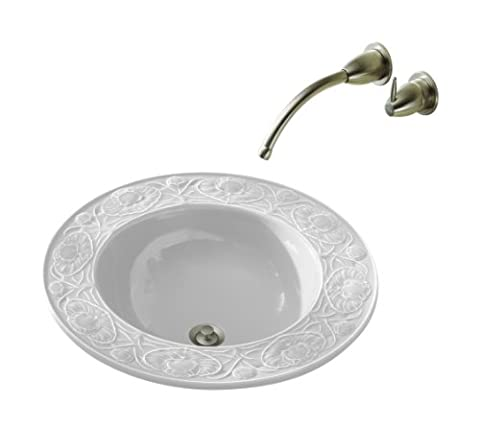 Kohler K-14282-0 Water Lilies Design on Camber Self-Rimming Lavatory, Less Faucet Drilling, White - 0 White Camber