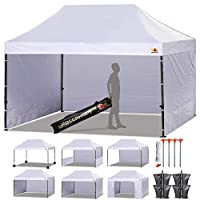 ABCCANOPY 23+ Colors Deluxe 10x15 Pop up Canopy Outdoor Party Tent Commercial Gazebo with Enclosure Walls and Wheeled Carry Bag Bonus 4 Weight Bags and 2 Half Walls (White)