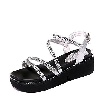 9d3fdd8a7 KPHY Verano Roma Zapatos De Mujer Muffins De Fondo Grueso Simple Sandalias  Tacones Los Estudiantes Los Zapatos Planos.Treinta Y Siete Blanco:  Amazon.es: ...