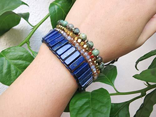 (Natural Blue Gemstone Cuff Bracelet | Lapis Lazuli Bracelet | Blue Bracelet | Royal Blue Leather Wrap)
