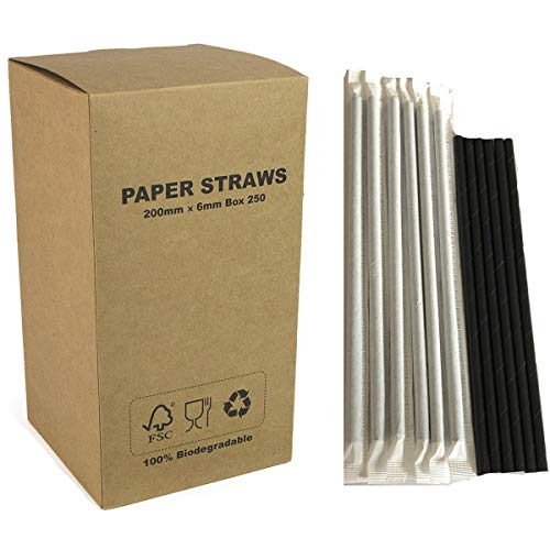 250 pcs Individually Paper Wrapped Plain Black Paper Straws Bulk, Pure All Solid Black Paper Drinking Straws for Halloween Graduation Party, Beverage Soda Coffee Cafe CocktaiRestaurant, Biodegradable]()