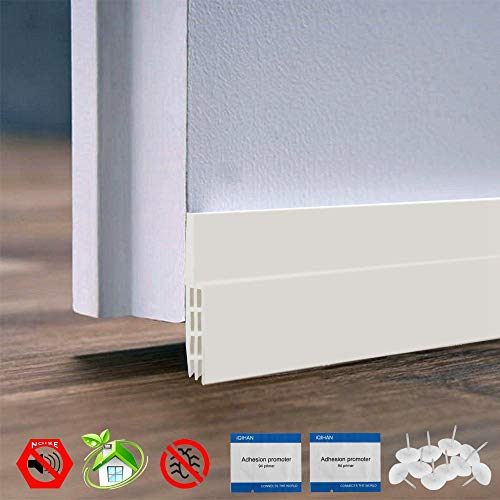 IDEALCRAFT Door Draft Stopper, Under Door Seal Strip, Energy Efficient Door Weather Stripping,Suitable for Gap Under 1 Inch, 2