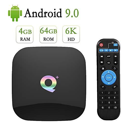Android 9.0 TV Box ,Android TV Box 4GB Ram 64GB Rom H6 Quad Core Support 2.4G WiFi/4K/6K Ultra HD/3D/H.265/USB3.0 Q Plus Smart Media TV Box