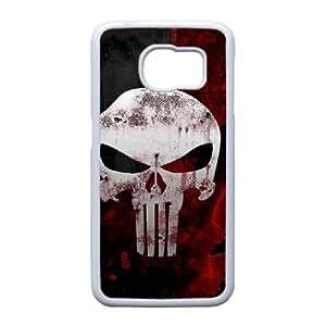 Generic hard plastic Frank Castle Punisher Skull Logo Cell Phone Case for Samsung Galaxy S6 White ABC83