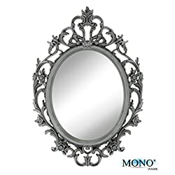 MONOINSIDE Small Decorative Framed Oval Wall Mounted Mirror, Classic Vintage Baroque Design, 15 x 10.5, Plastic, Ornate Gray Finish