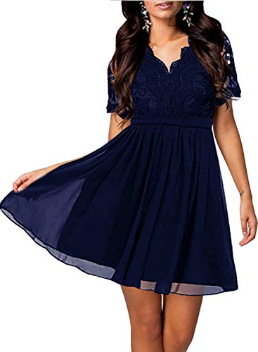 Yikomi Women's Short Sleeve V-Neck Lace Floral Cocktail Wedding Party Dress K11 (S, Navy Blue)