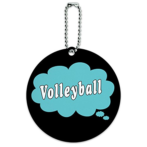 Price comparison product image Dreaming of Volleyball Blue Round Luggage ID Tag Card Suitcase Carry-On
