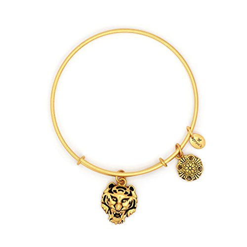 kable Bangle - Expandable 14k Gold Plated Animal Feline Charm Bracelets (Gold Plated Tiger Charms)