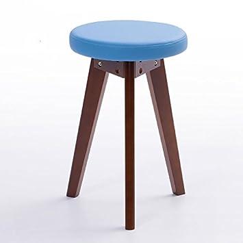 Xin-stool Mode Kleine Bank/kreativen Hocker/Einfache Hocker/Massivholz Hocker Hause/Esstisch Hocker (Farbe : Blau, Stil : A) XIN XIN EU