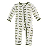 Kickee Pants Little Boys Print Coverall with Zipper - Natural Olive Branch, 3-6 Months