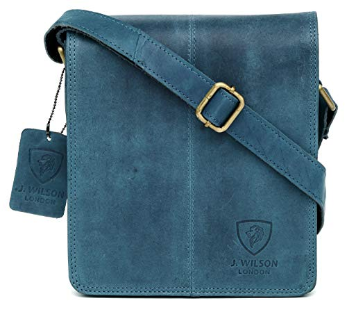 Real Leather Blue Leather Messenger Vintage Everyday Hunter Distressed Handmade 100 Crossover Genuine Pure Tablet Mens Bag Flapover Work Shoulder qCU8SE