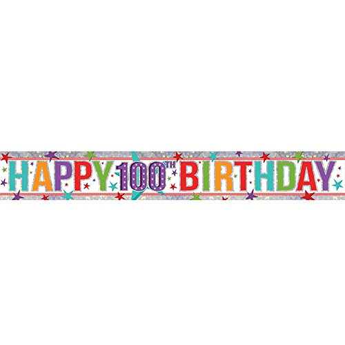 Amscan 9900972 2.7 m Happy 100th Birthday Holographic Foil -