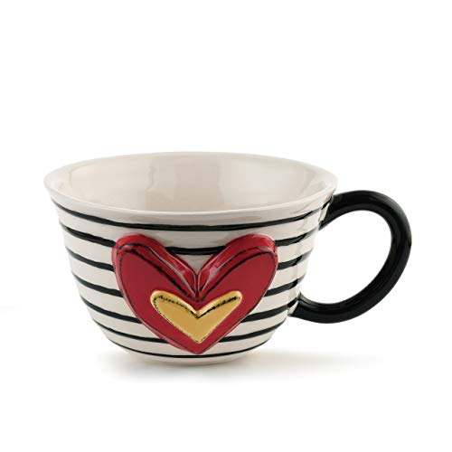 - Narrow Stripe Black and White 12 ounce Glossy Ceramic Stoneware Tea Cup