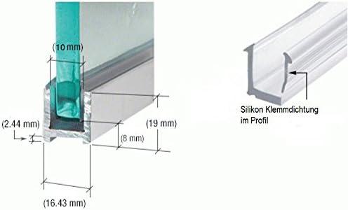 Pinza cabinas de ducha aluminio perfil U de perfil para 10 mm Grosor de cristal en diferentes longitudes Cromado o acero inoxidable cepillado Schmalwand Perfil de vidrio Mampara de fijación Perfil ranuras