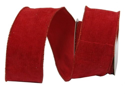 Renaissance 2000 2.5-Inch x 10yd Red Corduroy Lined Ribbon