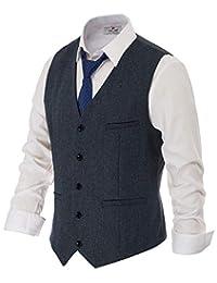 dd39fb5a3 PAUL JONES Men's British Herringbone Tweed Vest Premium Wool Waistcoat