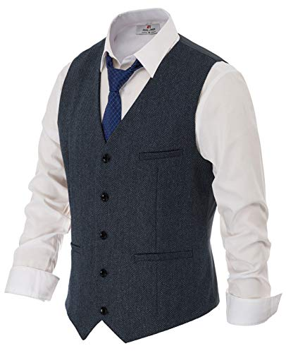 PAUL JONES Mens Retro Tweed Groom Vest V Neck Wool Blend Waistcoat 2XL Navy Blue