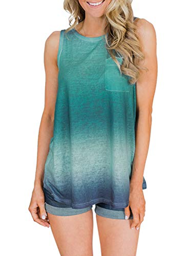 ent Tie Dye Printed Sleeveless Blouses Tank Tops Casual Loose Summer Crewneck Tshirts Tops L Green ()