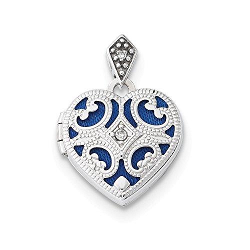 Roy Rose Jewelry 14K White Gold 15mm Diamond Heart Locket by Roy Rose Jewelry