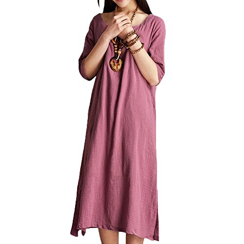 100% Linen Dress (Asher Women's Solid Shift Half Sleeve Petticoat Linen Long Casual Flax Summer Dress (One Size, Pink))