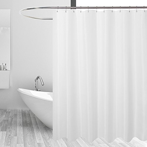 Mrs. Awesome Hotel Fabric Shower Curtain Liner or Shower Curtain, Mildew Resistant, Washable & Water repellent, Diamond Patterned White, 71 x 72 inches for - Nylon Curtain Hotel Shower