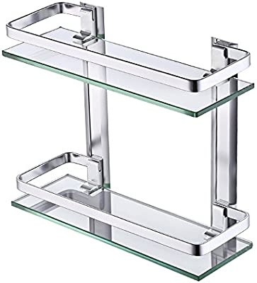 Pleasant Kes Aluminum Bathroom Glass Shelf 2 Tier Tempered Glass Rectangular Double Deck Extra Thick Silver Sand Sprayed Wall Mounted A4126B Download Free Architecture Designs Scobabritishbridgeorg