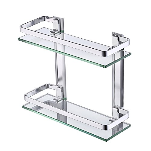 - KES Aluminum Bathroom Glass Shelf 2 Tier Tempered Glass Rectangular Double Deck Extra Thick Silver Sand Sprayed Wall Mounted, A4126B