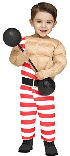 Baby Weightlifter Costume (UHC Boy's Carny Muscle Man Toddler Kids Circus Weightlifter Halloween Costume, 24-2T)