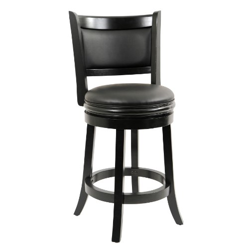 Back Leather Counter Stool (Boraam 45824 Augusta Counter Height Swivel Stool, 24-Inch, Black)