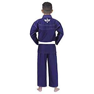 Elite Sports IBJJF Ultra Light Brazilian Jiu Jitsu Gi For Kids with Preshrink Fabric and Free Belt, Navy, C1