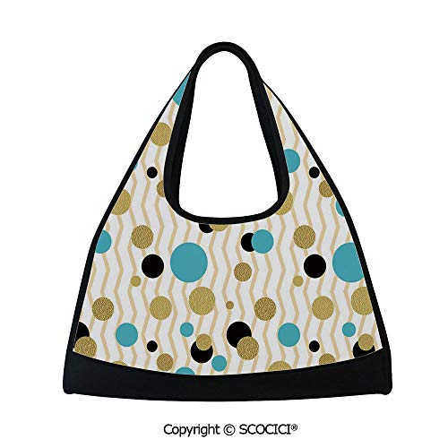(Table tennis bag,Trippy Geometric Circles Dotted Gold Rounds on Zig Zag Lined Background Print,Multi Functional Bag (18.5x6.7x20 in) Aqua)