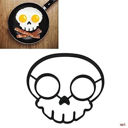 Caucho de silicona huevo molde antiadherente calavera huevos fritos sartén molde para tortitas moho negro