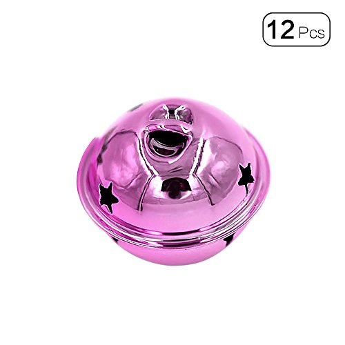 Tong Yue 30pcs/Pack 4cm Smooth Surface Jingle Bells DIY Craft Pendant for Christams Decoration Key Accessories-Pink