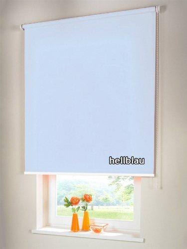 Sichtschutzrollo Seitenzugrollo Kettenzugrollo Rollo Sichtschutz 220 x 170 cm / 220x170 cm hellblau - Bedienseite rechts