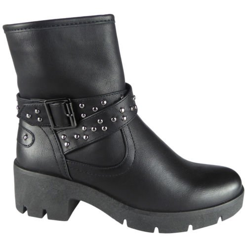Leather New Size 3 Ankle Chunky Black Studded Buckle Heel Boots 8 Faux Womens nazr4Bnx