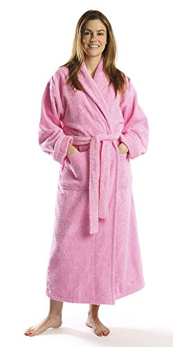 TurkishTowels Mens and Womens Original Terry Shawl Turkish Bathrobe-M, Pink