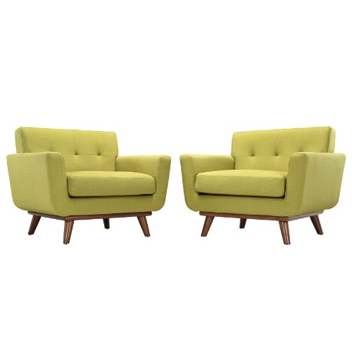 - Modern Contemporary Armchair Set of Two Green