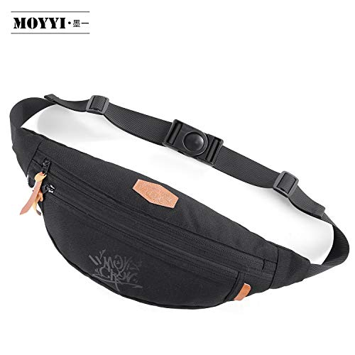 MOYYI Waist Pack Bag Fanny Pack for Men&Women, Hip Bum Bag with Adjustable Strap for Outdoors Workout Traveling Casual Running Hiking Cycling Black