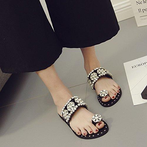 silver flat WYMBS slippers Slingback Sandals Heel Rhinestones 36 PU Summer Casual Women's RRS7UqF1w