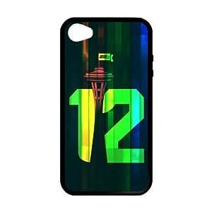 RAROFU American football Seattle Seahawks Custom Case for iPhone 4,4S (Laser Technology)