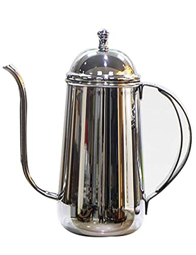 Hollow Handle Coffee Server - European Stainless Steel Coffee pot / 8mm Fine Mouth pot With Double Hollow Handle and Venting, Drip Filter Teapot, Suitable for Home use, 4 Cups